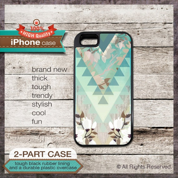 iPhone 6, 6+, 5 5S, 5C, 4 4S, Samsung Galaxy S3, S4 - Geometric Pattern on Floral Art - Design Cover 82