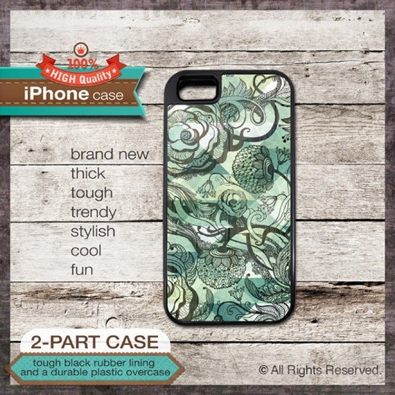 iPhone 6, 6+, 5 5S, 5C, 4 4S, Samsung Galaxy S3, S4 - Floral Art in Green Tones - Design Cover 90