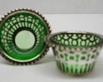 Precious Sterling Silver Salt and Pepper Cellars Green Color Glass Liners Made in Birmingham England