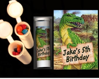 Dinosaur party favors candy/crayon tubes set of 10