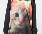 Cat Sweaters Jumper Kitten Kitty Persian Animal T-Shirt Women Sweatshirt Long Sleeve Black T Shirt Unisex Size M L