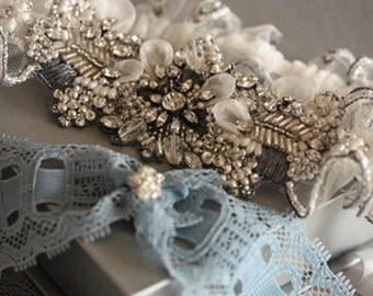 Wedding Garter Set - Antique Silver (Made to Order)