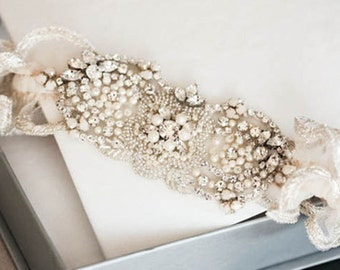 Bridal Garter Set - Flora  (Made to Order)
