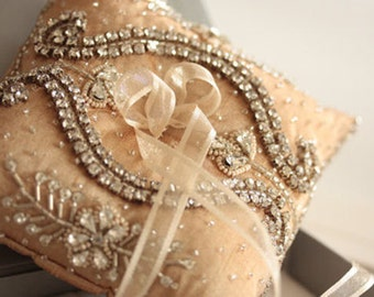 Bridal Ring Pillow - Neivo Champagne (Made to Order)