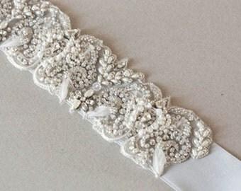 Wedding Embellished Belt - Celer 9.5 inches (Made to order)