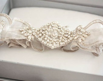 Crystal Wedding Garter Set   -  XOFFA (Made to Order)