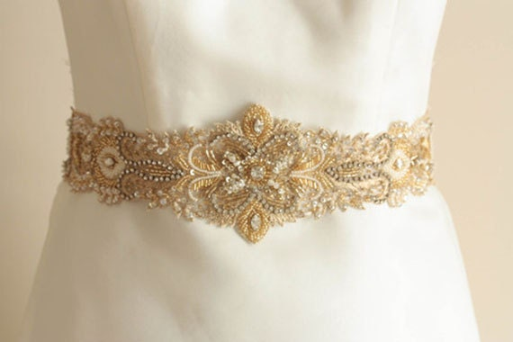 bridal sash in gold ivory gold 18 inches made to order