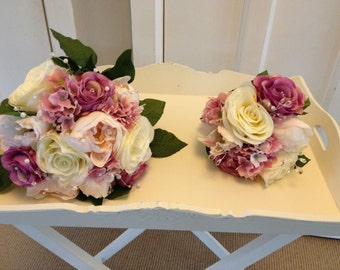 Wedding Brides Bouquet vintage pinks & ivory roses peonies Hydrangeas with diamanté stem and pearl details