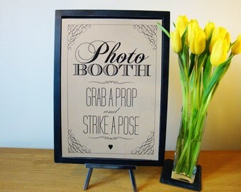 Photo Booth - A4 wedding sign - vintage / rustic style