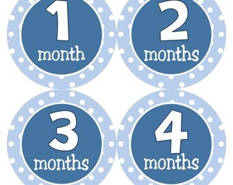 Monthly Baby Stickers Baby Boy Month Stickers Boy Navy Blue Bodysuit Month Sticker Boy Monthly Sticker Baby Shower Gift Photo Prop - Jake