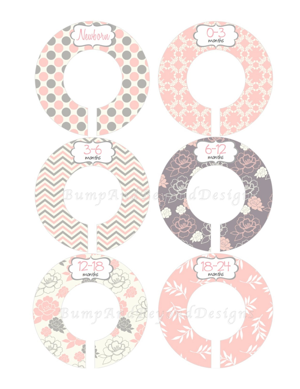 Custom Baby Closet Dividers Girl Pink Grey By