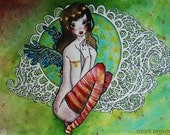 """RESERVED. Art Illustration on watercolor papper """"Ana"""", A4, doll with wings"""