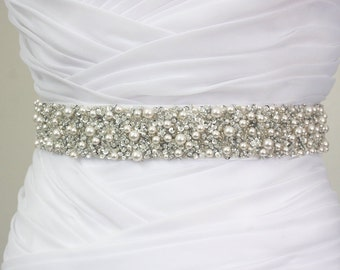 "Best Seller - MONACO - 1 1/2"" Swarovski Pearls Encrusted Bridal Sash, Wedding Beaded Sash Belts"
