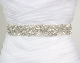 Best Seller - ELYNN - Vintage Inspired Wedding Belt, Bridal Crystal Rhinestone Swarovski Pearl Beaded Sash