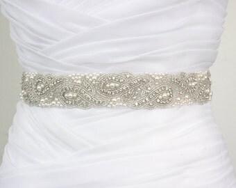 Best Seller - ELYNN - Vintage Inspired Wedding Belt, Bridal Crystal Rhinestone Swarovski Pearl Beaded Sash