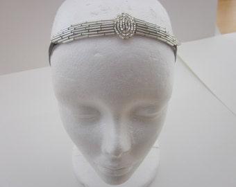 Silver great gatsby headband 1920s headpiece, flapper prom headband stretch elastic headband velvet  beaded deco Art Deco dress accessories.