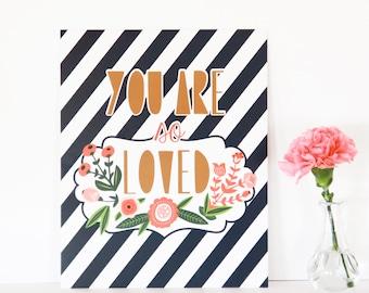Wall Art, Baby Nursery Print, Nursery Decor 8x10 - You Are So Loved Print