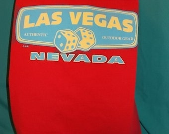 Las Vegas Dice  T Shirt Tote Bag Upcycled Hand Made Shopping Bag in Red