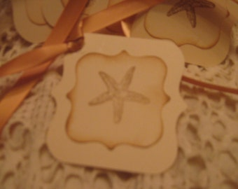 Hand Made Vintage Starfish Gift Tags, Wish Tags, Journal Tags, Hang Tags, Party Favor Tags