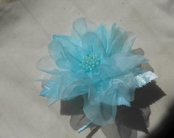Light blue fablic flower corsage