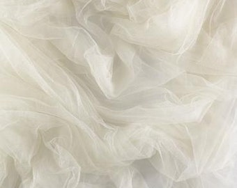 100% French silk tulle - ivory - priced per half yard - 1/2 yard