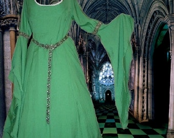 FREE SHIP Costume Gown Medieval Renaissance Fantasy SCA Garb Kelly Green Cotton Brave lxl