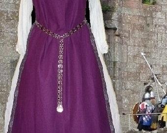 FREE SHIP Medieval SCA Garb Renaissance Costume Purple Linen Bl Tabard 2pcSet Sdlacg sz flexible lxl