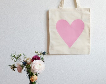 Eco Love Heart Tote Bag - Pale Pink