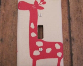 Bright Pink Flambe Giraffe Switch Plate -Cute for Nursery, Children's Room, Etc.