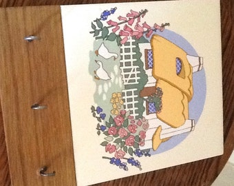 Vintage Tile Key holder Featuring Cottage with pretty garden and ducks.