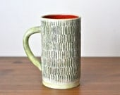 Ceramic red and green stoneware coffee or tea mug / handmade / made to order