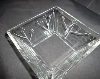 Etched square glass bowl with birds in trees.  Wedding gift, candy dish, serving dish.