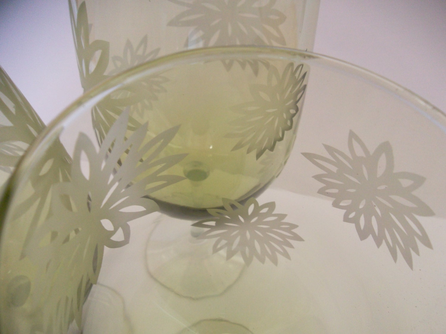 Etched Wine Glasses Wedding Gifts : Wine glasses etched with flowers. Set of 2. Wedding gift