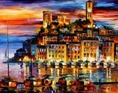 """Cannes, France — Palette Knife Sailboats Seascape Wall Art Oil Painting On Canvas By Leonid Afremov. Size: 40"""" X 30"""" Inches (100 cm x 75 cm)"""