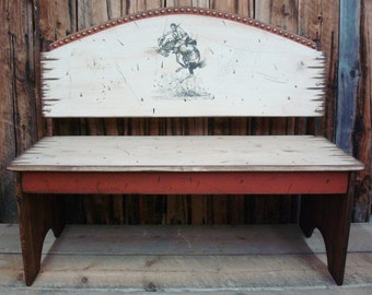 Bench Seat, Western Antiqued Distressed Bench