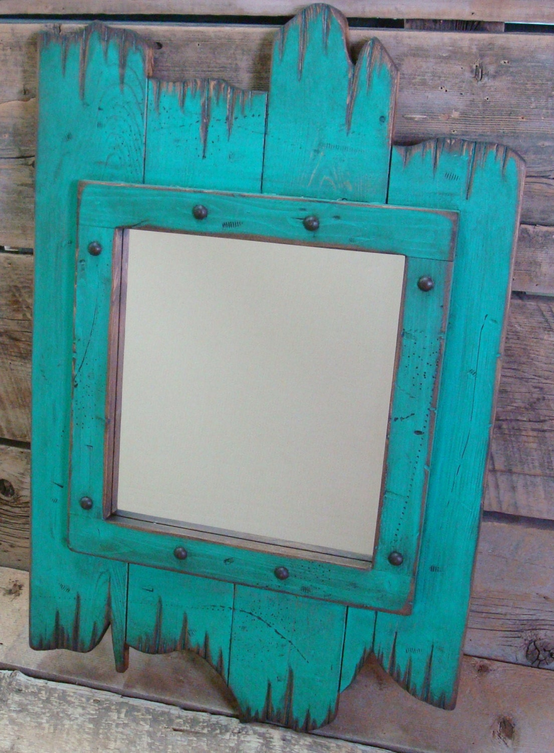 Turquoise christmas rustic wood distressed barnwood mirror for Rustic mirror
