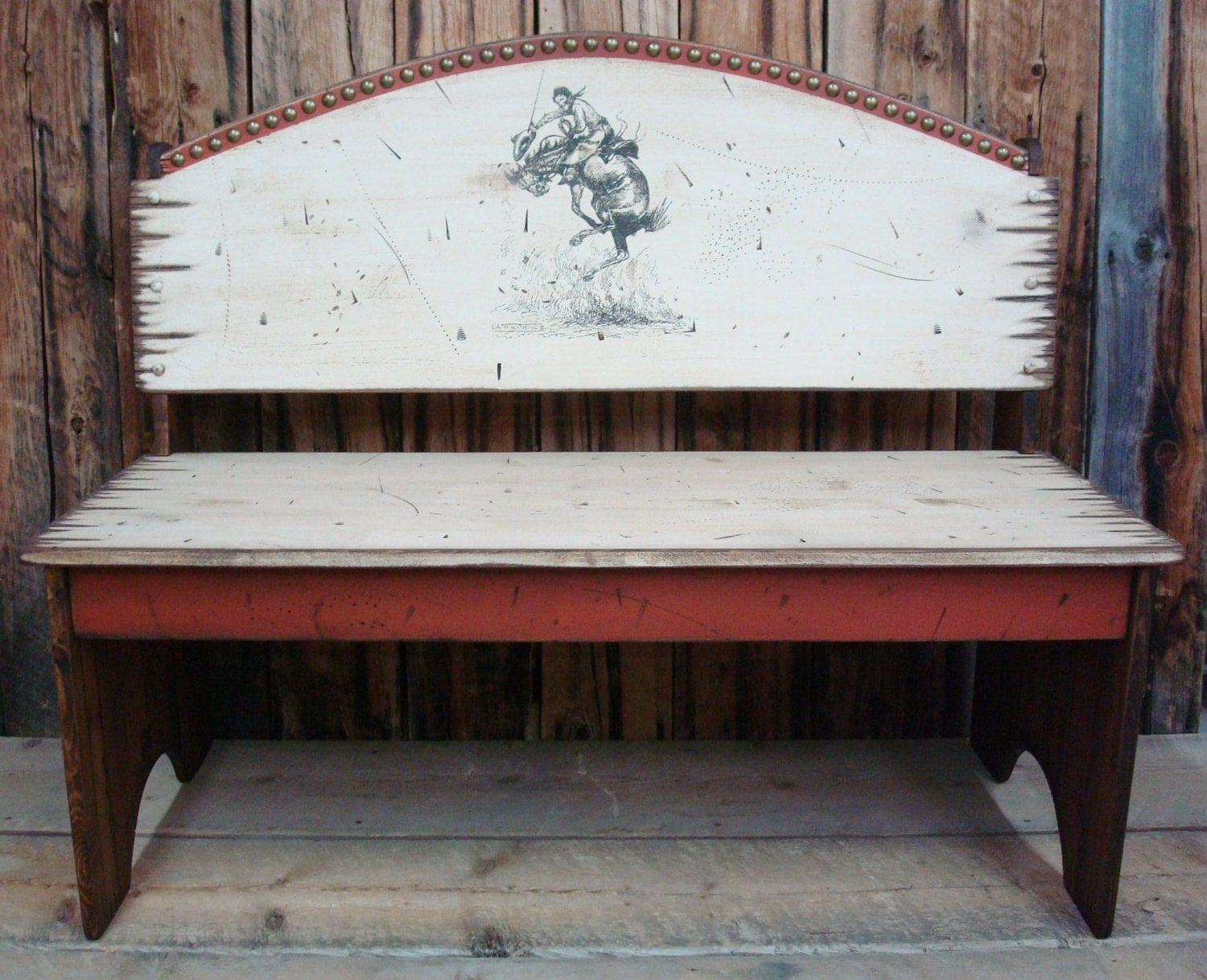 Bench Seat Western Antiqued Distressed Bench