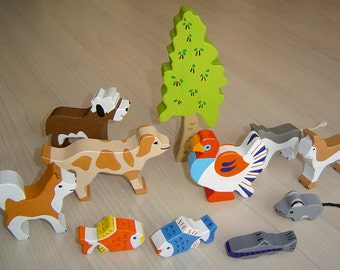 pdf patterns / tutorial for 10 different wooden animals in Waldorf style, DIY - birch tree, cat, mouse, fich, dog, Husky