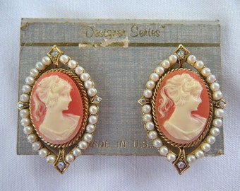 Vintage Celluloid Cameo Earrings with Sead Pearls