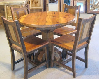 ROUND BARNWOOD TABLE - Barnwood Dining Table - Reclaimed Wood Table 5 foot