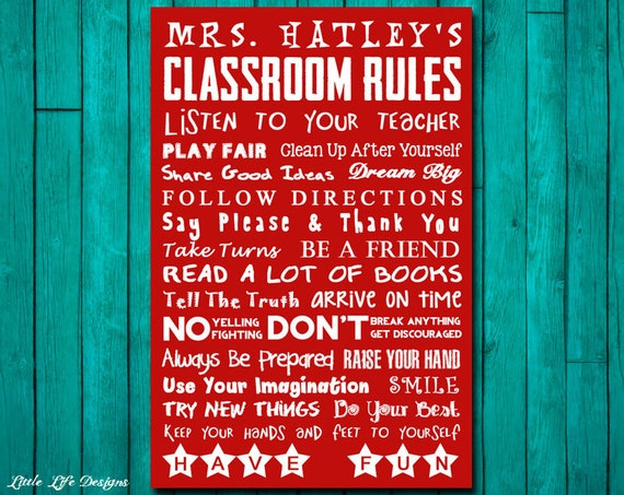 Classroom Rules Decor ~ Classroom decor teacher gift appreciation