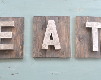 "Three Piece Wooden Planked ""EAT"" Sign Set with Silver Metal Looking Letters"