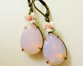 Opal Pink Pear Estate Style Rhinestone Earrings with Porcelain Pink Rose Accent - Wedding - Bridal - Bridesmaid gift