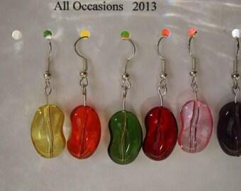 Jelly Bean clear glass earrings