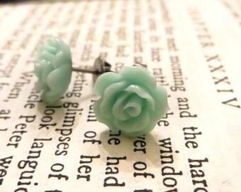 Tiny Mint Green Aqua Rose earrings, silver jewelry, floral jewelry, minimalist