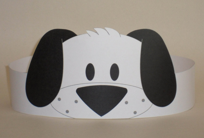 Puppy Black & White Crown Printable