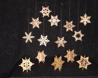 Wooden snowflakes hand made in Ky.