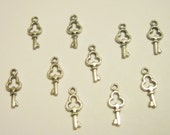 Lot of 10 Tiny Skeleton Key Charms - Antiqued Silver Tone Pendants - Jewelry Making Supplies - Scrapbooking - Keys