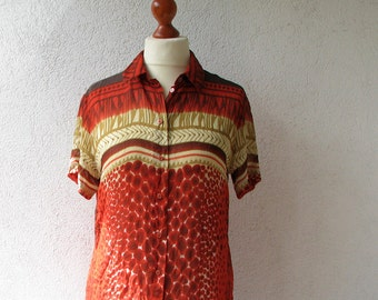 1980's Orange Brown Shirt Blouse Hippie Secretary Puff Sleeve Formal Sheer