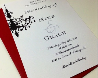 Chandelier wedding invitation suite , Black and white wedding invitations, handmade custom invites